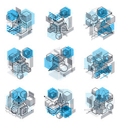 Isometric abstract backgrounds with linear vector