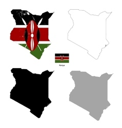 Kenya country black silhouette and with flag on vector image vector image