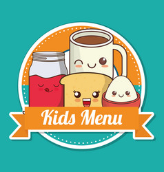 Kids menu breakfast nutrition kawaii design vector