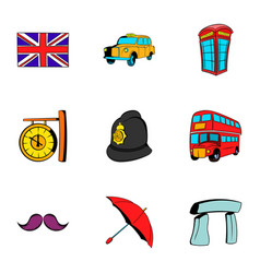 london icons set cartoon style vector image vector image