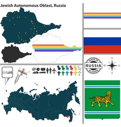 Map of jewish autonomous oblast vector