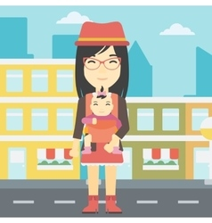 Mother carrying her daughter in sling vector