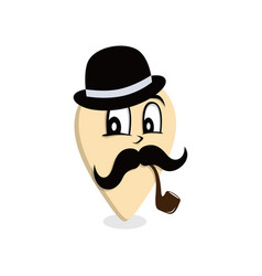Mustache gentleman pipe smoker map pin locator - vector