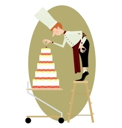 Pastry chef and a great multi-storey cake vector