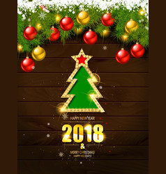 retro merry christmas poster template vector image