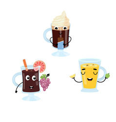 Set of funny characters from mulled wine cider vector