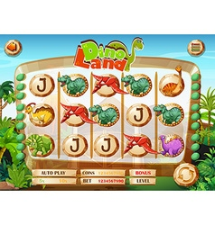 Slot game template with dinosaur characters vector image