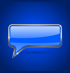 Speech bubble blue 3d icon with chrome frame vector