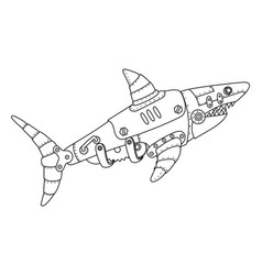 steampunk style shark coloring book vector image vector image
