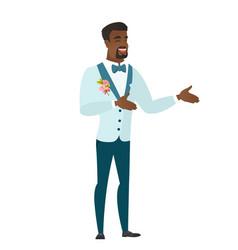 Young african-american happy groom gesturing vector