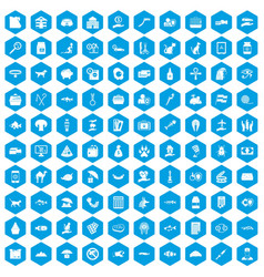100 cat icons set blue vector
