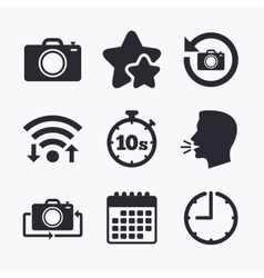 Photo camera icon flip turn or refresh signs vector