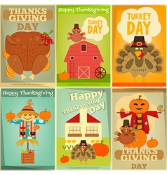 Happy thanksgiving greeting card set vector