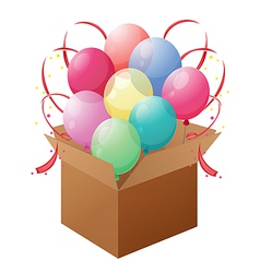 A box with balloons vector