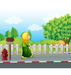 An old woman walking at the streetside with a vector image