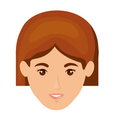 white background of smiling woman face and redhead vector image