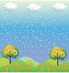 Snowflakes at the hills vector