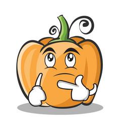 Thinking pumpkin character cartoon style vector