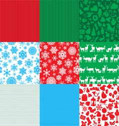 Different set of christmas backgrounds vector