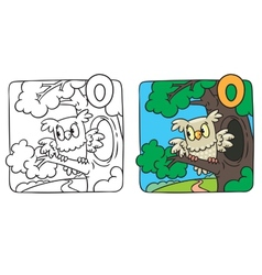 Little owl coloring book alphabet o vector