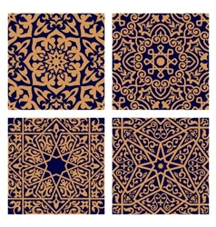 Arabic geometric seamless patterns with foliage vector