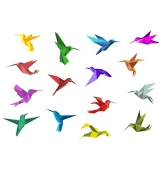 Flying origami hummingbirds or colibri birds vector image