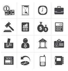 Black business office and finance icons vector