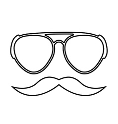 Mustache and glasses hipster style isolated icon vector