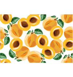 apricot seamless pateern on white vector image