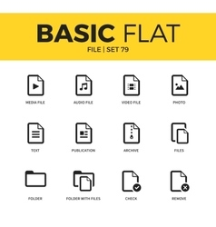 Basic set of file icons vector