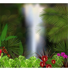 Beautiful on the waterfall background vector image vector image