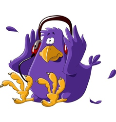 bird in headphones vector image vector image