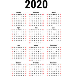 calendar for 2020 vector image