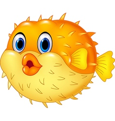Cartoon puffer fish isolated on white background vector image vector image