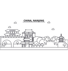 China nanjing architecture line skyline vector