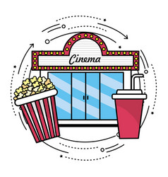 Cinema with popcorn and soda snack vector