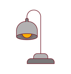 Colorful graphic of desk lamp with dark red line vector