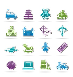 different kind of toys icons vector image vector image