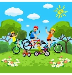 Family with kids concept of cycling in the park vector image