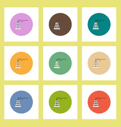 Flat icons set of oil rig and statistic concept on vector