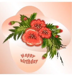 Floral composition bouquet of red flowers on soft vector