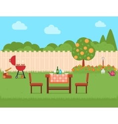 House backyard with grill and garden vector