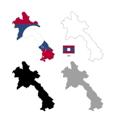 Laos country black silhouette and with flag on vector image vector image