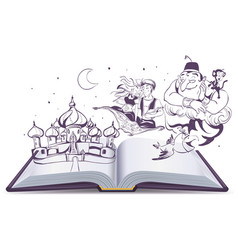 Open book story tale magic lamp aladdin arab vector