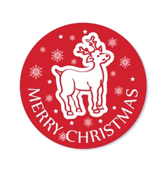 Round cristmas greeting with deer vector