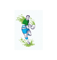 Rugby player running and passing ball vector