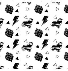 Seamless pattern roller skate and rubik cube vector