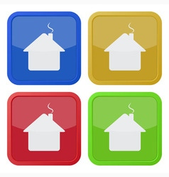 set of four square icons - house with chimney vector image