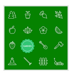 Set of garden elements can be used as logo or icon vector