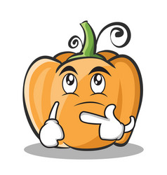 Thinking pumpkin character cartoon style vector